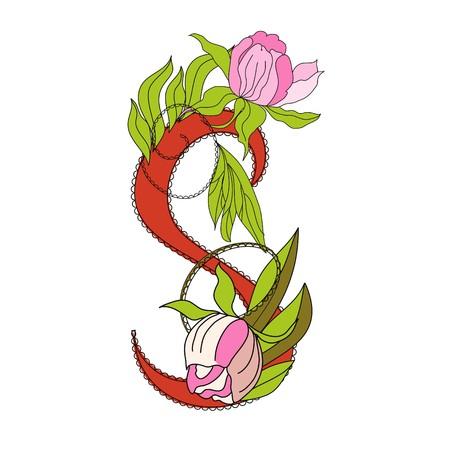Floral font 2. Letter  S Vector