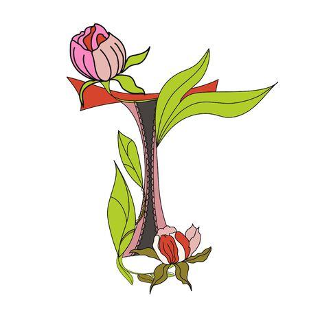 Floral font 2. Letter T Vector