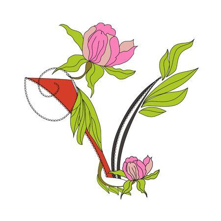 Floral font 2. Letter  V Vector