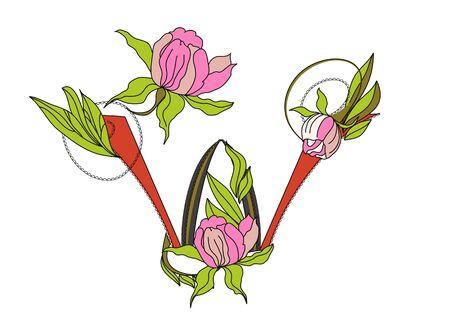 Floral font 2. Letter  W Vector