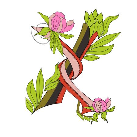 Floral font 2. Letter  X Stock Vector - 6966956