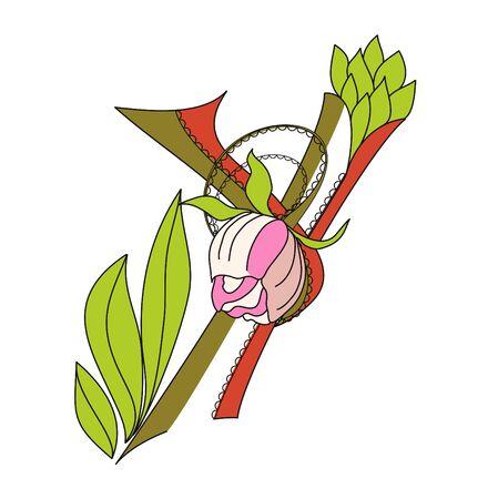 Floral font 2. Letter  Y Vector