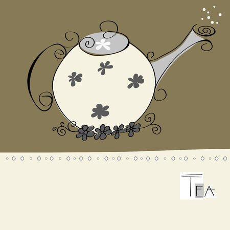 Decorative card with teapot  Vector