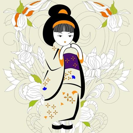 geisha kimono: Japanese girl