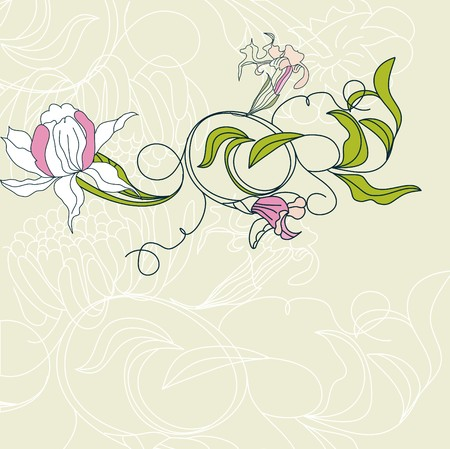 Romantic background with flowers Vector