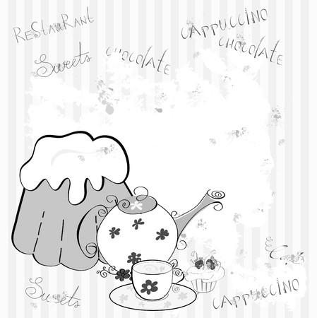 stand teapot: Template for restaurant design set 3 Illustration