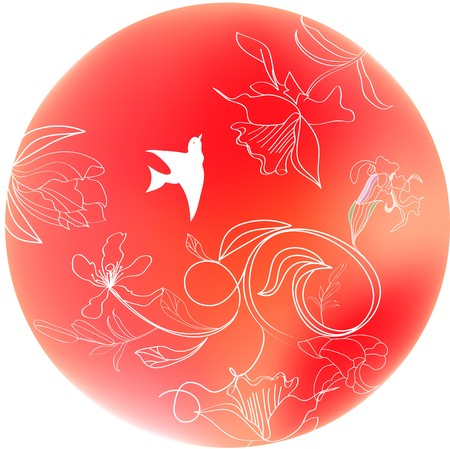 Circle with floral ornament Vector