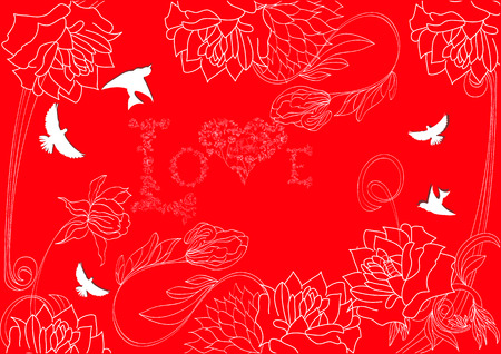 Red background with vintage flowers and bird Vector