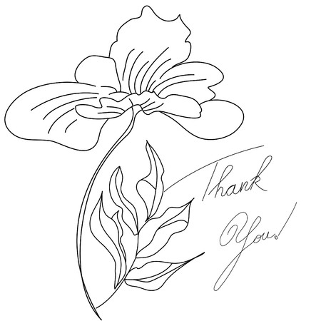 Floral card with inscription thank you Vector
