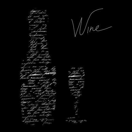 wijn en spijzen: Gestileerde zwarte achtergrond met inscriptie wijn