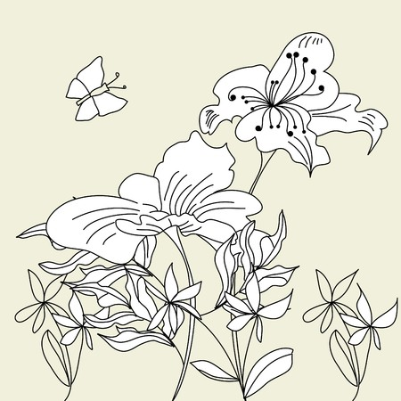 hayfield: Background with decorative flowers