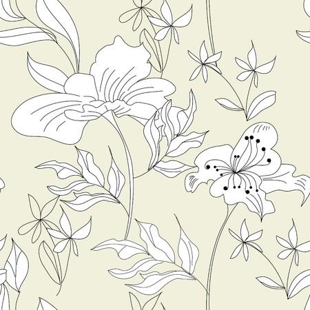 hayfield: Floral seamless wallpaper