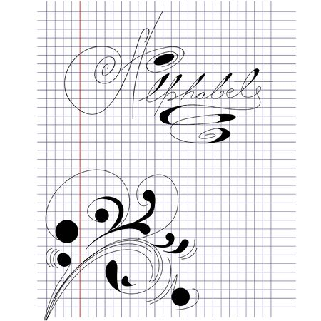 Note paper with inscription Alphabet Vector