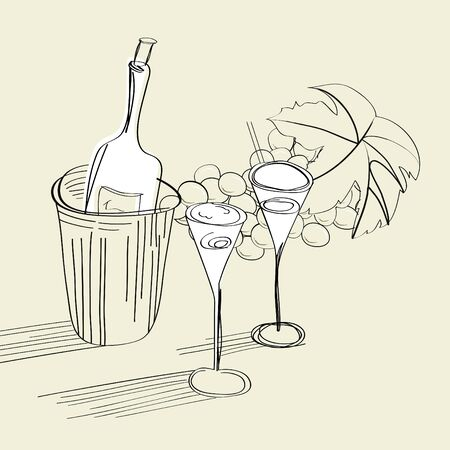 Sketch with bottle and two glasses Vector