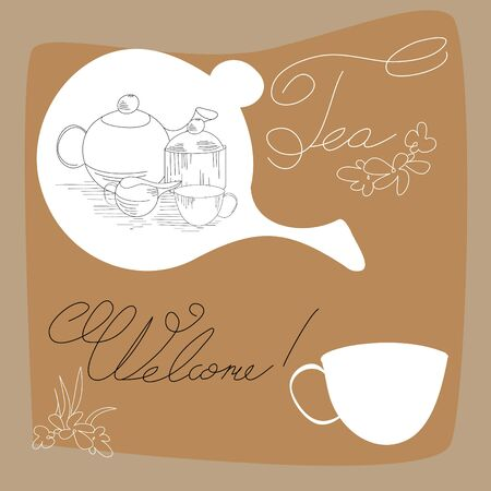 tea time card  Stock Vector - 7256902