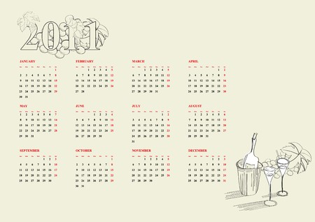 Template for calendar 2011 Vector