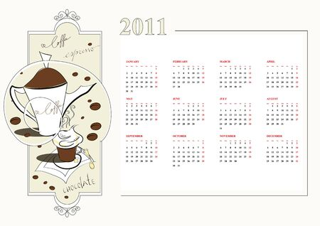 Template for calendar 2011 Vector