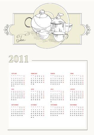 Vintage template for calendar 2011 Vector