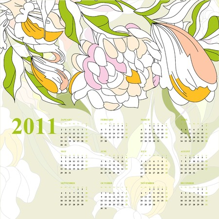 Decorative calendar with flowers for 2011 Vector