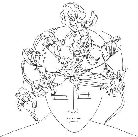 Young woman sketch Vector