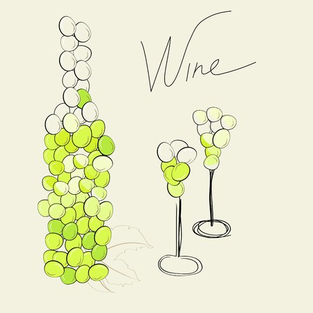 bottle and two glasses  Vector
