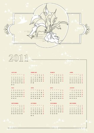 Vintage calendar for 2011 Stock Vector - 7300293