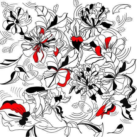 paeony: Decorative floral background Illustration