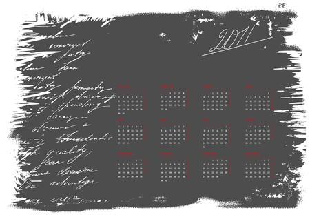 Calendar for 2011 on grunge backgrpund Vector