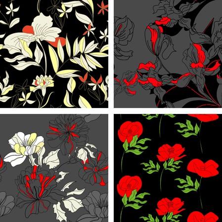 paeony: Floral seamless pattern. Set 2