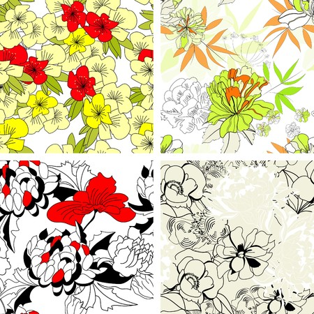 paeony: Floral seamless pattern. Set 3 Illustration
