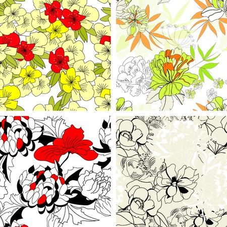paeony: Floral seamless pattern. Set 3 Illustration