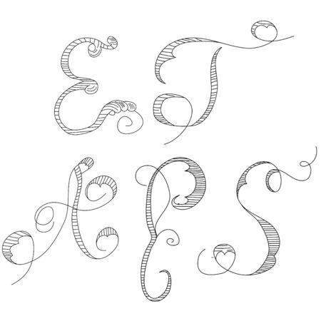 Sketch with letters E, T, A, P, S Vector
