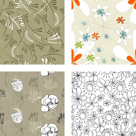 Floral seamless pattern. Set 4  Vector