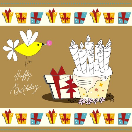 inscription: Greeting card with inscription happy birthday  Illustration