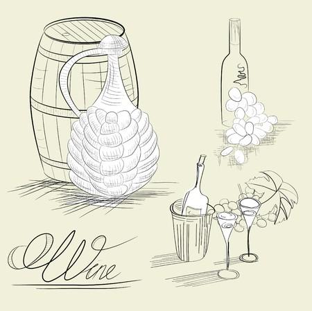 Wine sketch Vector