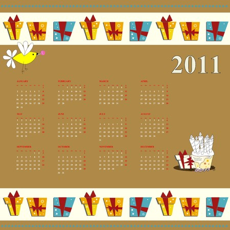 Cartoon calendar for 2011 Vector