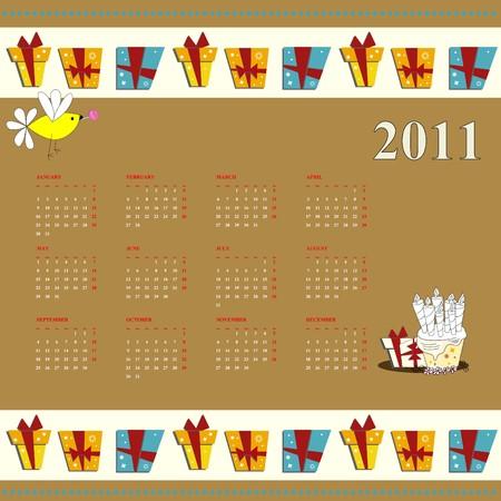 cartoon calendar: Cartoon calendar for 2011 Illustration