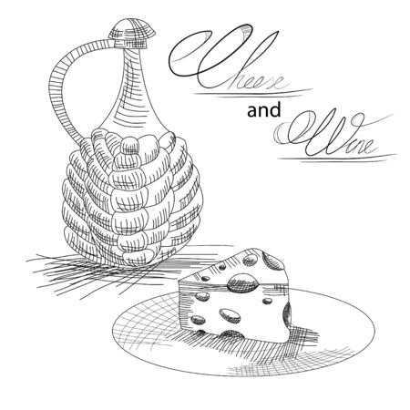white cheese: Cheese and wine Illustration