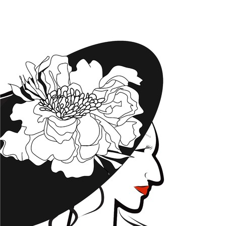 Young woman in black hat with flower Stock Vector - 7373702