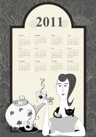 Decorative calendar for 2011 Vector