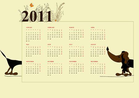 lap dog: Calendario per il 2011  Vettoriali