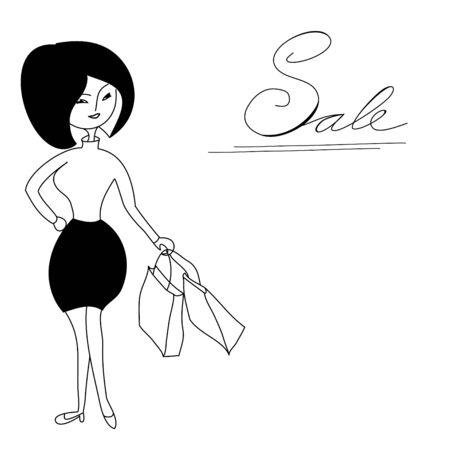 shoping bag: Girl with shoping bag