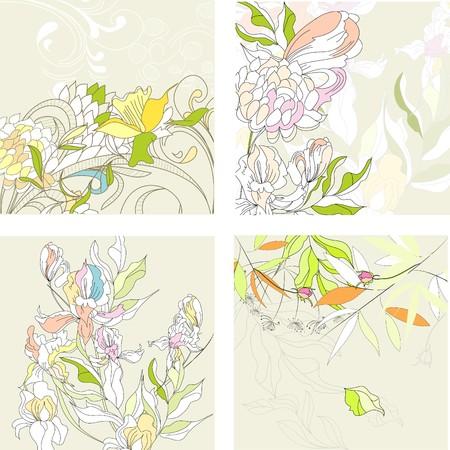 iris fiore: Set1 con floral background  Vettoriali