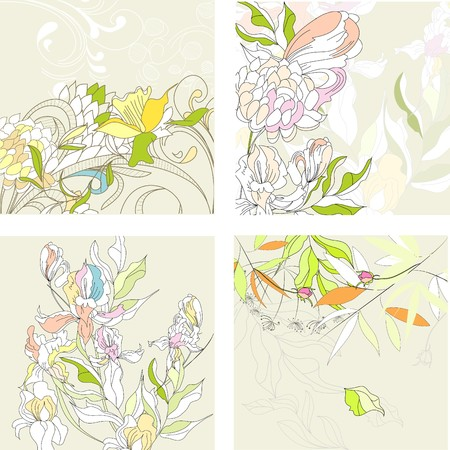 Set1 with floral background Vector