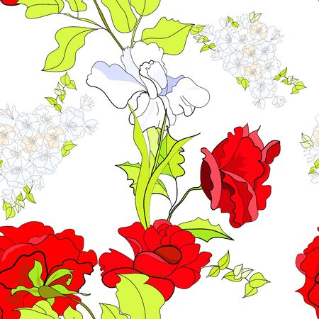 paeony: Floral seamless wallpaper