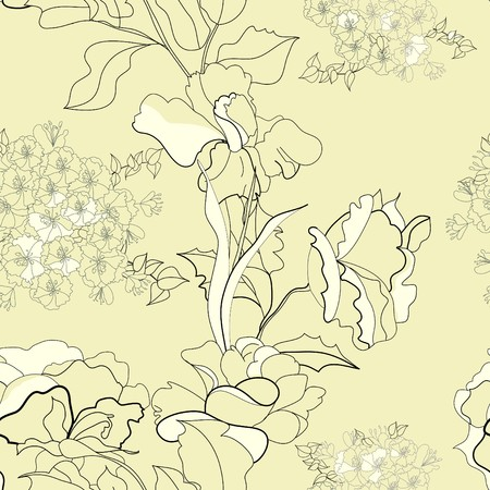 paeony: Seamless pattern with flowers
