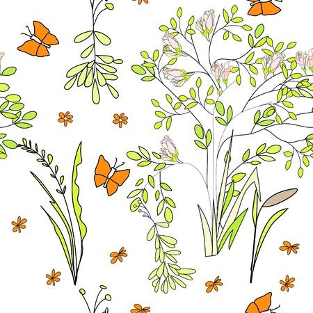 Seamless wallpaper wild flowers Vector