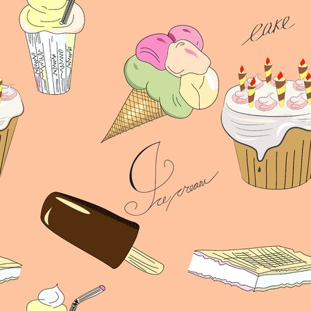 sweetmeats: Seamless pattern with sweets  Illustration