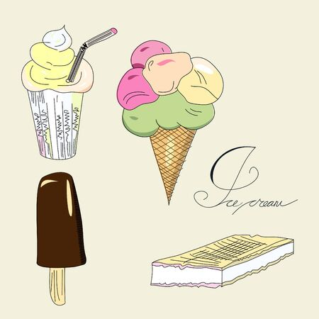ice-cream collection Vector
