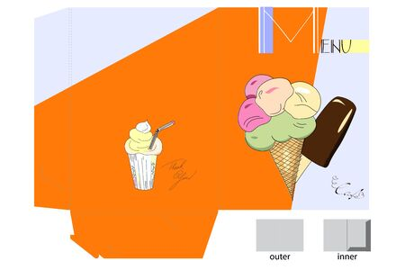 Template for menu folder with ice-cream Vector